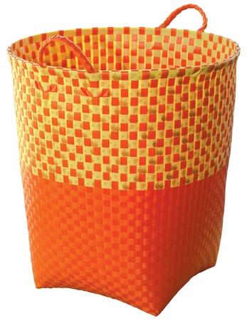 weaved plastic basket isolated on white background photo