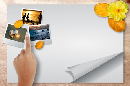 getaways: Blank paper page travel with point picture on wood background Stock Photo
