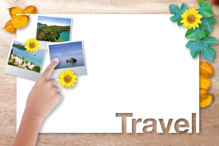 Blank paper page travel with point picture on wood background photo