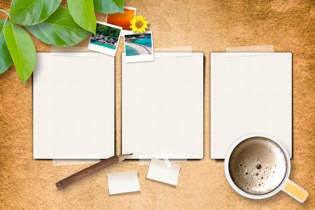 3 Blank pages with photo frame and coffee on paper craft photo