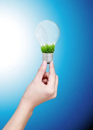 power of savings: lightbulb nature in a hand on blue background