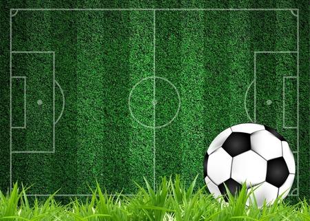 3d soccer football on grass field with line stadium photo