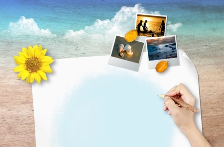 Blank page with photo frame on wood background