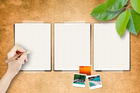 Blank pages and hand write with photo frame on paper craft Stock Photo