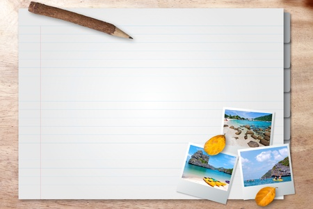 getaways: note page with photo frame travel