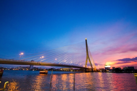 main river: Bridge and pier in main river of Thailand