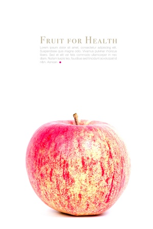 Fresh apple and sample text isolated on white photo