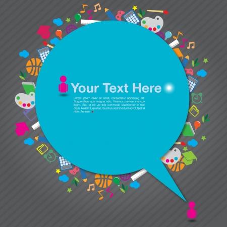 leveringen: spraak achtergrond met onderwijs pictogrammen op grijze achtergrond, vector-formaat