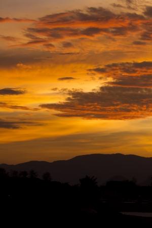 grassy plot: Landscape sunset sky Silhouette mountain