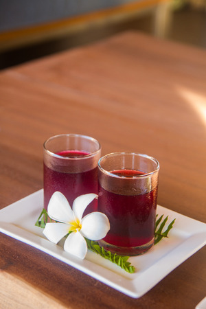 traditional thai drink,fruit and herbal cold drink decorated Various herbs  photo
