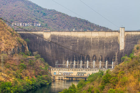 thai dam: The power station at the Bhumibol Dam in Thailand  Stock Photo