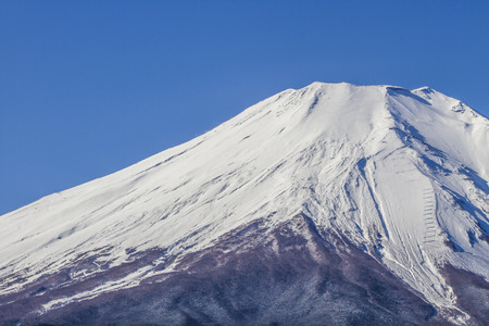 capped: Close up fuji mountain in Japan Stock Photo