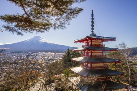 tokyo sky tree: Mt. Fuji with Chureito Pagoda at sunrise in autumn, Fujiyoshida, Japan