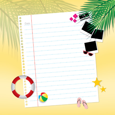 blank page: Blank page summertime traveling Illustration
