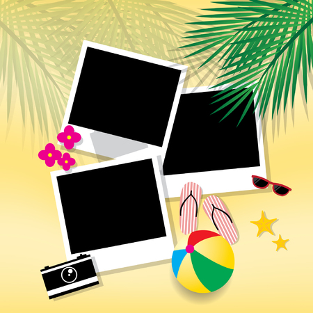 tropical border: Photo frame travel on the beach Illustration
