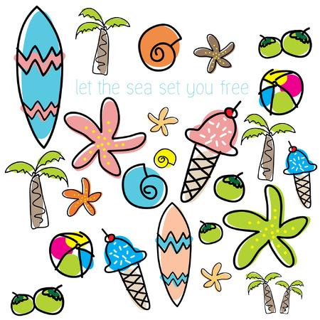 holiday vacation: Summer vacation holiday icons