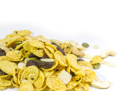 corn meal: Close up cornflakes on white background