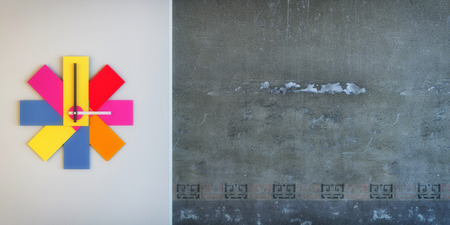time critical: colorful clock with concrete wall