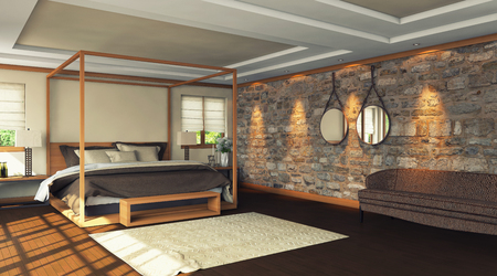 bedroom wall: wooden bedroom with stone wall