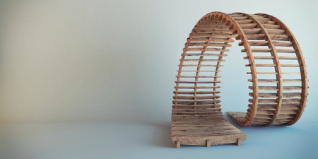 carved letters: children wooden toy road at white