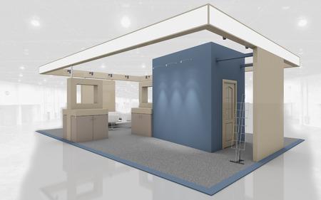 Stand de exposición en colores azul y beige 3d renderizado