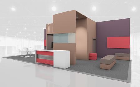 Messestand in Braun und Beige Farben 3D Rendring Standard-Bild
