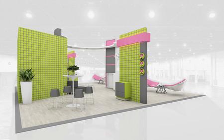 Ausstellungsstand in Grün und Rosa Farben 3D Rendering