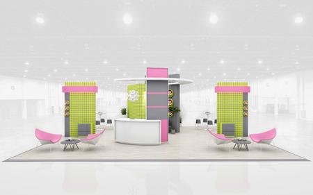 Messestand in Grün und Rosa Farben 3D-Rendering