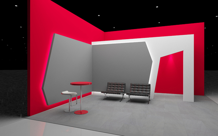 red and grey exhibition booth 3d Rendering