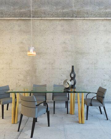 Tavolo di vetro in una grande sala di riposo grigia