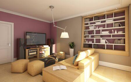 Small Media Room With Sofa 스톡 콘텐츠