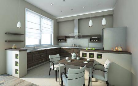 Modern Kitchen In Grey Colours