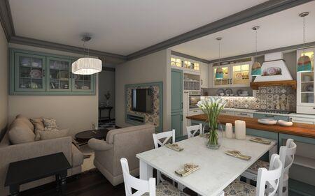Mediterranean Kitchen In Small Apartment Stock Photo