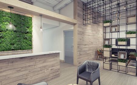 Office Lobby with Green Wall