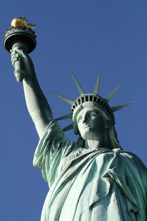 This is a top view of the statue of liberty including crown and torch Stock Photo