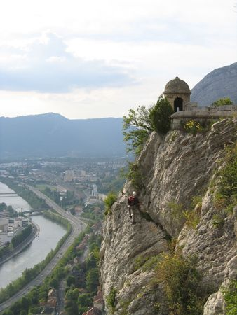 This is a Rock Climber Above Grenoble France 1 Stock Photo - 2586412