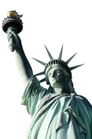 This is an isolated  top view of the statue of liberty including crown and torch