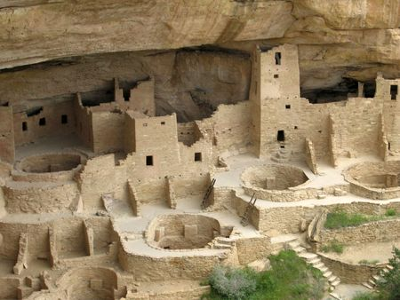kiva: This is the Mesa Verde Cliff Palace near Durango Colorado Stock Photo