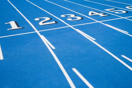 This is a Blue RaceTrack Starting Line Stock Photo