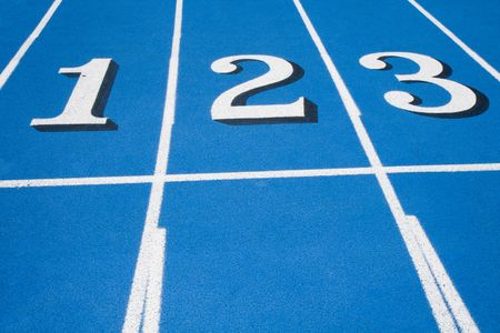This is a Blue Race Track Starting Line ne Two Three Stock Photo
