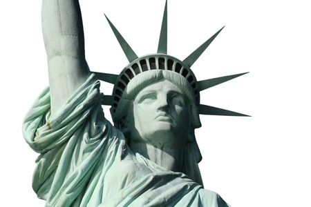 Statue of Liberty Head and Shoulders on White