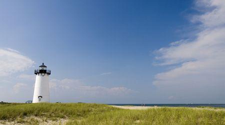guard house: This is the Edgar Harbor Light House Marthas vineyard with Beach