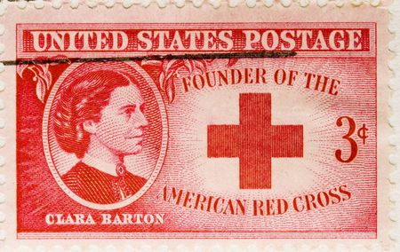 postage stamp: This is a Vintage 1943 canceled US Postage Stamp Clara Barton American Red Cross