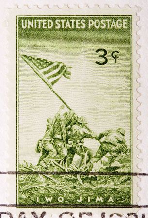 This is a Vintage 1945 canceled US Postage Stamp Iwo JIma Stock Photo