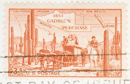 This is a Vintage 1953 Cancelled US Postage Stamp Gadsen Purchase photo