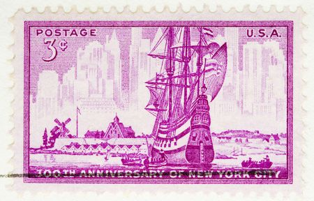 This is a Vintage 1952 Us Postage Stamp Anniversary of New York City