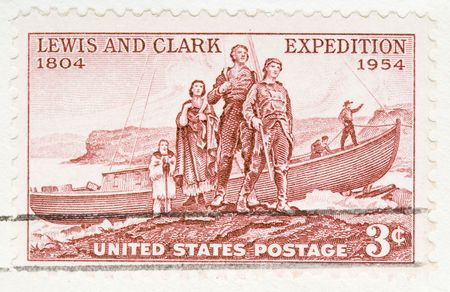 This is Vintage 1954 US Postage Stamp Lewis and Clark Expedition Imagens - 3526403