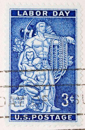 sello postal: Esto es Vendimia 1956 EE.UU. sello D�a del Trabajo Foto de archivo