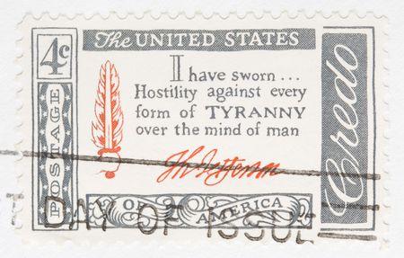 credo: This is Vintage 1956 canceled US stamp Thomas Jefferson Credo