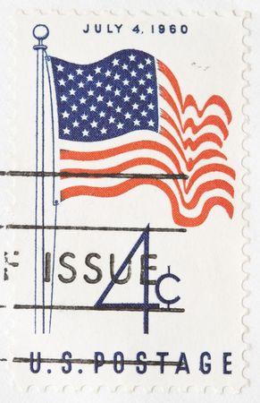 forth: This is a Vintage 1960 canceled US stamp July Forth Stock Photo